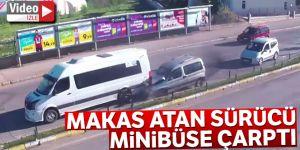 Erzurum'da Makas atan sürücü önündeki minibüse çarptı