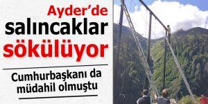 Ayder Yaylası'nda salıncaklar kaldırılmaya başlandı