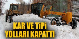 Doğu'da kar, tipi köy yollarını ulaşıma kapadı