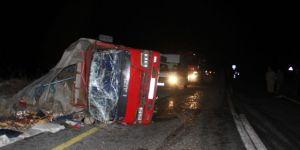 Erzurum'da kamyonet devrildi: 1 yaralı