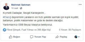 Başkan Sekmen'den depremzedelere yardım çağrısı