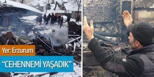 Erzurum'da çıkan yangında 3 ev ile ahır ve samanlık yandı