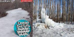 Erzurum'da dereler buz bağladı