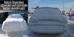 Erzurum'da Türkiye'nin otomobilinin kardan heykelini yaptılar