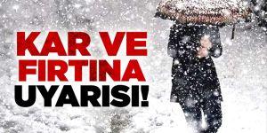 Doğu Anadolu Bölgesi için fırtına ve kar uyarısı