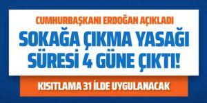 31 ilimizde 23, 24, 25 ve 26 Nisan tarihlerinde sokağa çıkma yasağı