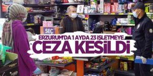 Erzurum'da 1 ayda 23 işletmeye ceza kesildi