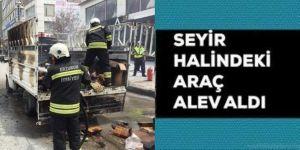 Erzurum'da kamyonet cadde ortasında yandı