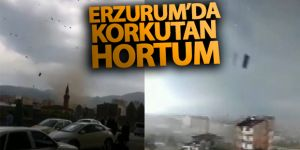 Erzurum'da hortum çatıları uçurdu
