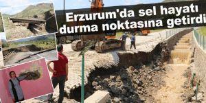 Erzurum'daki selde kapanan yollarda çalışmalar sürüyor