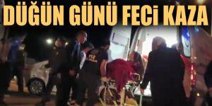 Erzurum'da düğünden dönen çift kaza yaptı