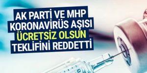 AK Parti ve MHP koronavirüs aşısı ücretsiz olsun teklifini reddetti
