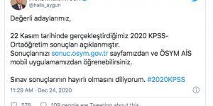 ÖSYM, 2020-KPSS Ortaöğretim sonuçlarını