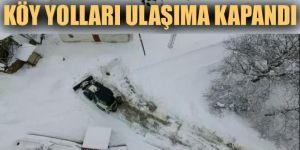 Kar ve tipi köy yollarını ulaşıma kapadı
