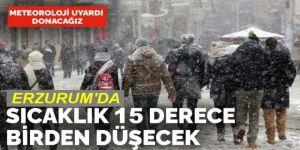 Erzurum'da sıcaklık 8 ila 15 derece arasında düşecek