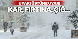 Uyarı üstüne uyarı: Kar, fırtına, çığ...
