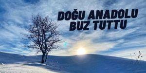 Doğu Anadolu'da soğuk havanın etkisiyle dere ve şelaleler dondu