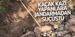 Erzurum'da Jandarmadan kaçak kazı yapanlara suç üstü