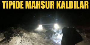 Kar ve tipi nedeniyle yolda mahsur kaldılar