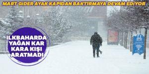 Erzurum'da kış geri döndü