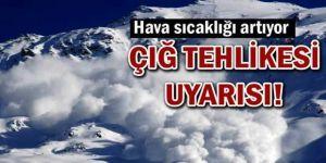 Kar erimesi ve çığ tehlikesi uyarısı