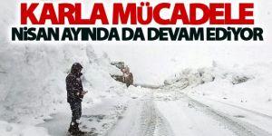 Palandöken Geçidi'nde nisanda karla mücadele