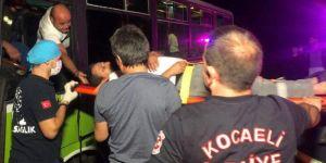 Kazada yaralanan otobüs şoförü ambulanstan inmek istedi