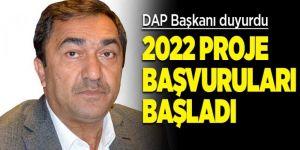 DAP 2022 yılı proje başvuruları başladı